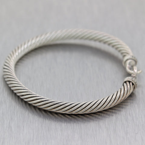 David Yurman Sterling Silver Diamond Hook Bangle Bracelet