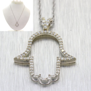 Vintage 14k White Gold .50ctw Diamond Hamsa Hand Of God Pendant Necklace N8
