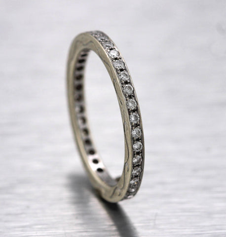 Ladies 14K White Gold 0.37ctw Diamond Eternity 2mm Wedding Band Stackable Ring