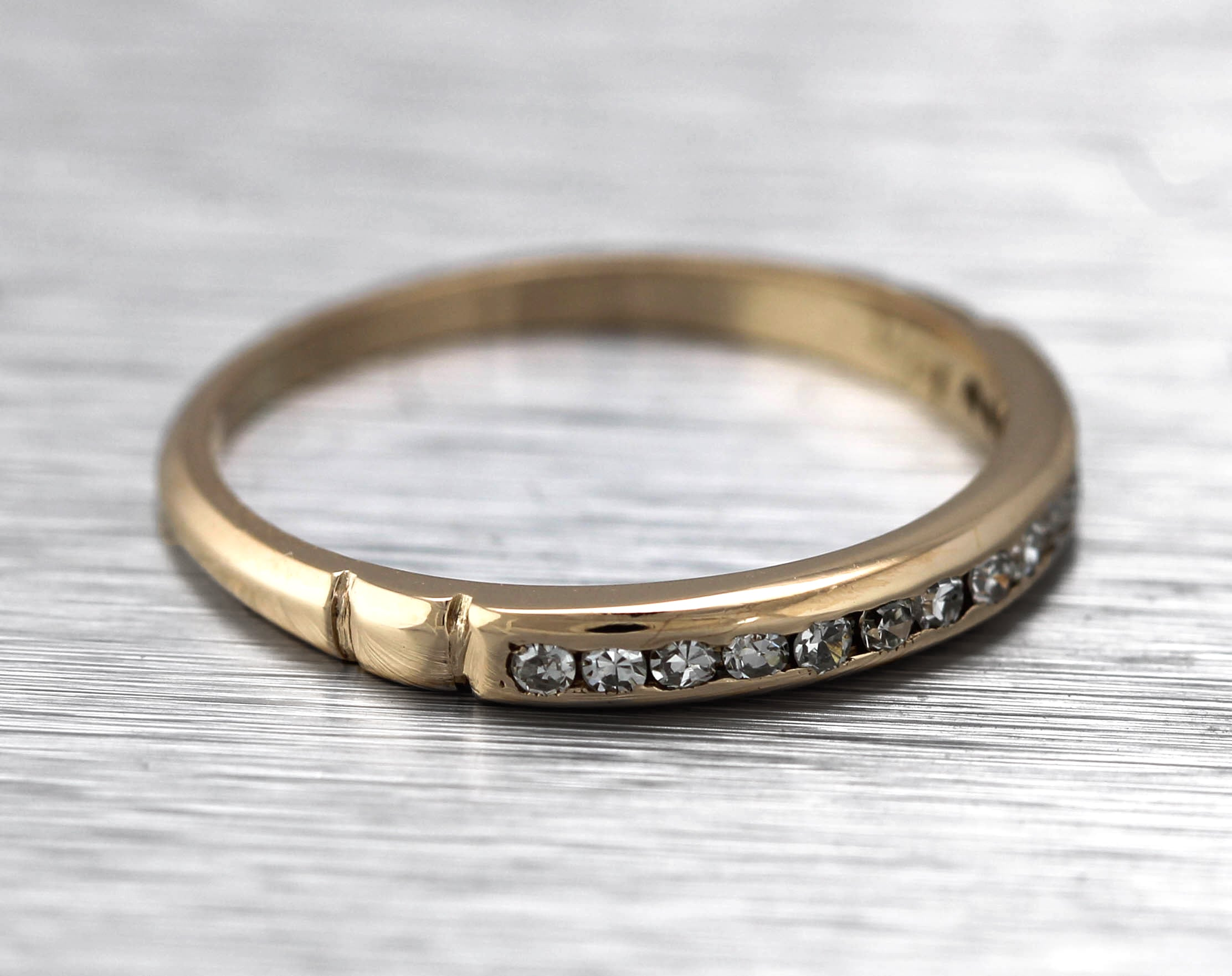 Lovely Ladies Dainty 14K Yellow Gold 3mm Wide 0.15ctw Diamond Stackable Ring