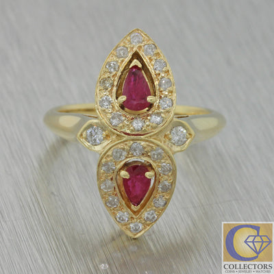 Vintage Estate Victorian Style 14k Yellow Gold Pear Cut Ruby Diamond Ring A1