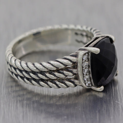 David Yurman Sterling Silver Petite Wheaton Onyx & Diamond Ring