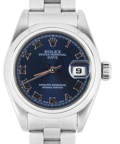 2002 Ladies Rolex Date 26mm Blue Roman Stainless Oyster Watch 79160 DateJust
