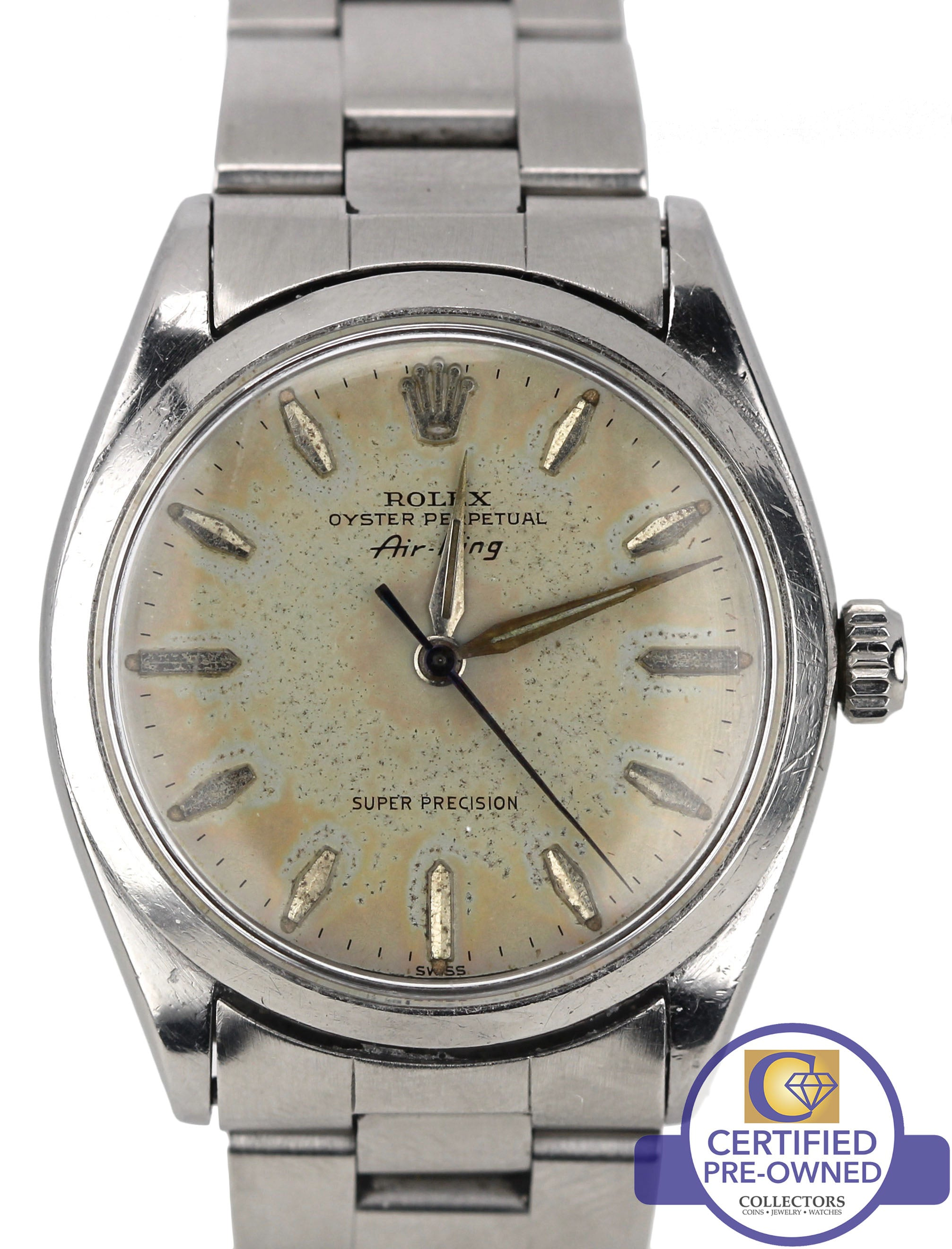 Rolex Oyster Perpetual Air King Silver Patina Stainless 5500 34mm Watch 14000