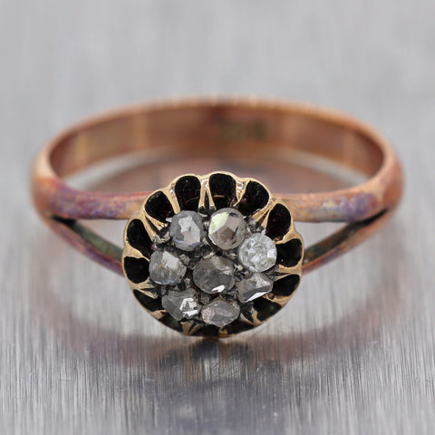 1880's Antique Victorian 10k Yellow Gold 0.20ctw Rose Cut Diamond Ring