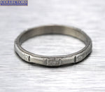 Lovely Ladies Vintage Estate Dainty Platinum Sun Ray Etched Eternity Band Ring