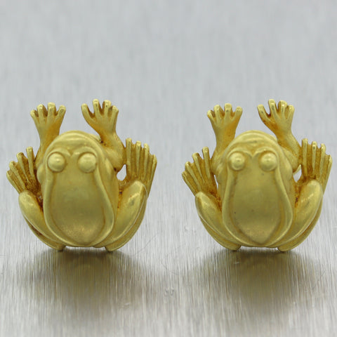 Barry Kieselstein-Cord 18k Yellow Gold Frog Cufflinks