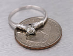 Ladies Vintage Estate 14K White Gold 0.33ct Diamond Solitaire Engagement Ring