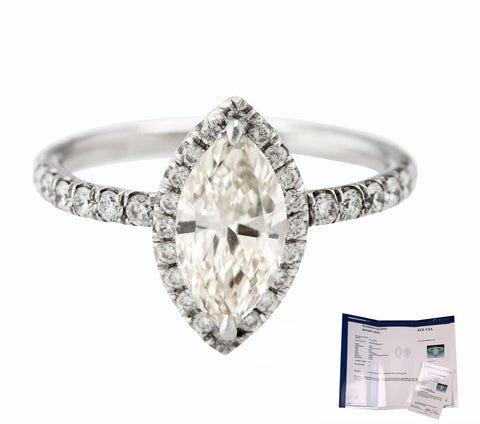 Platinum 1.04 CT I-J SI1 Marquise Brilliant Diamond Halo Engagement Ring EGL