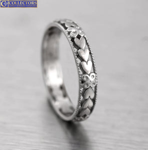 Ladies Vintage Estate 14K White Gold Heart Eternity Thin Band Ring