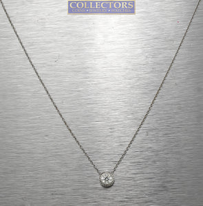 Lovely Ladies Modern 14K White Gold 0.33 Diamond Solitaire Bezel Set Necklace