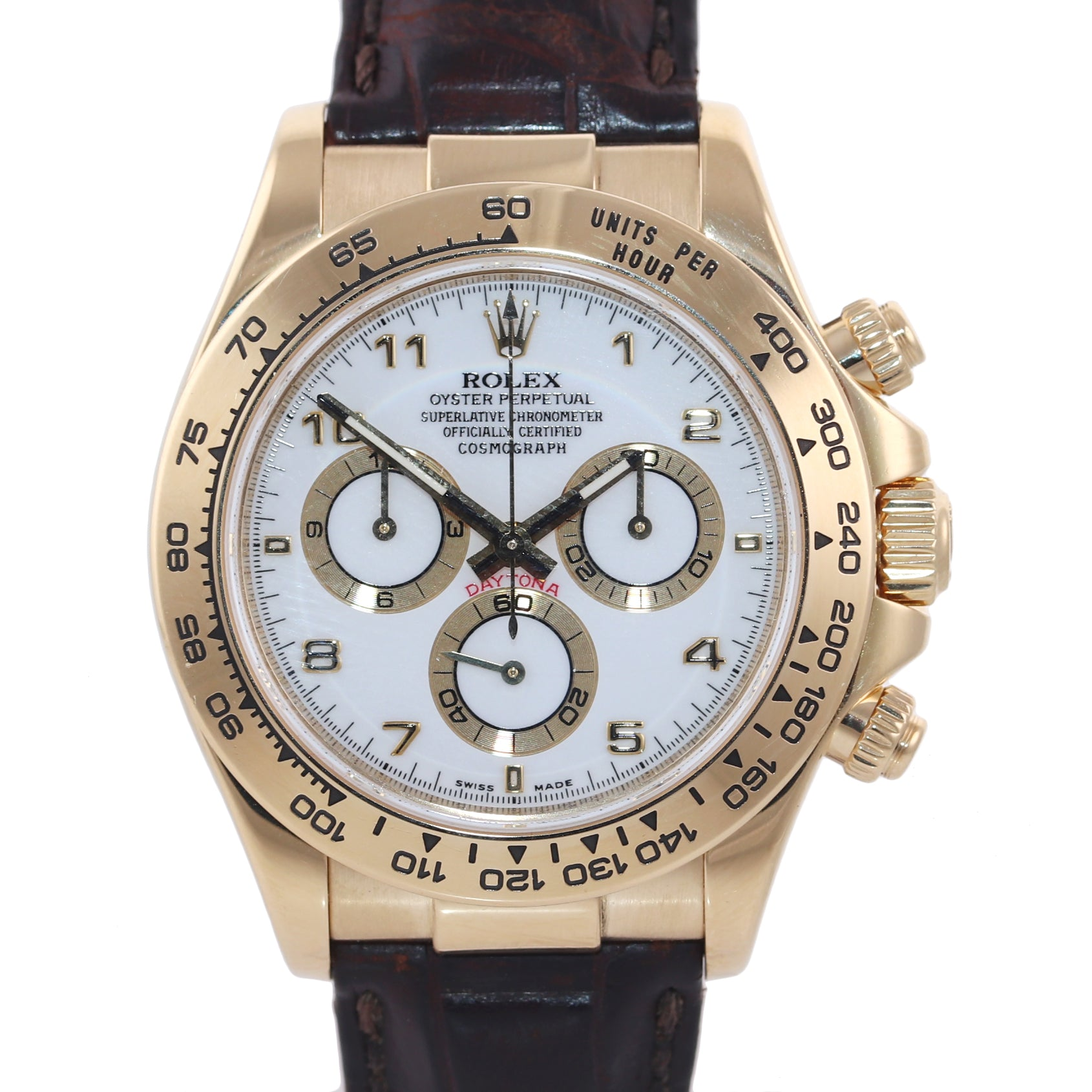 2010 PAPERS Rolex Daytona White Dial 116518 18k Yellow Gold Leather Watch Box