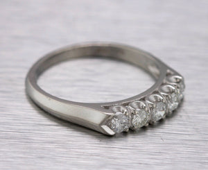 Ladies Sparkling Estate Platinum 0.50ctw Diamond Prong Set Wedding Band Ring