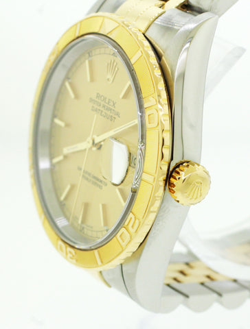 Rolex Date-just Two-Tone 34mm Turn O' Graph Thunderbird 16263 Gold Watch