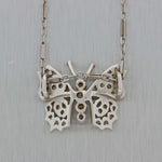 Antique Vintage Art Deco 14K White Gold .20ctw Diamond Flower Pendant Necklace