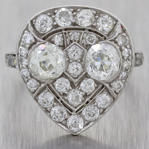 1920s Antique Art Deco Estate Platinum 2.00ctw Diamond Cluster Engagement Ring N8