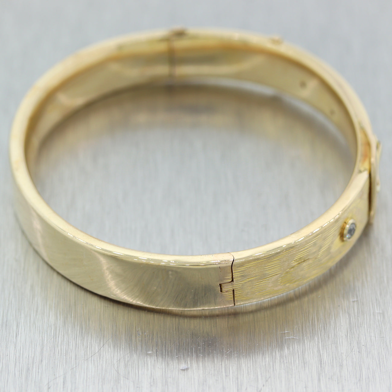 1880's Antique Victorian 14k Yellow Gold 0.25ctw Diamond Buckle Bangle Bracelet