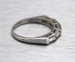 Ladies Estate 14K White Gold 0.55ctw Baguette Cut Diamond Wedding Band Ring