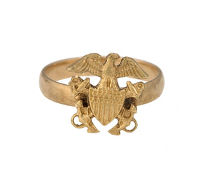 Vintage Estate 14K Yellow Gold United States U.S. Navy Military Emblem Ring