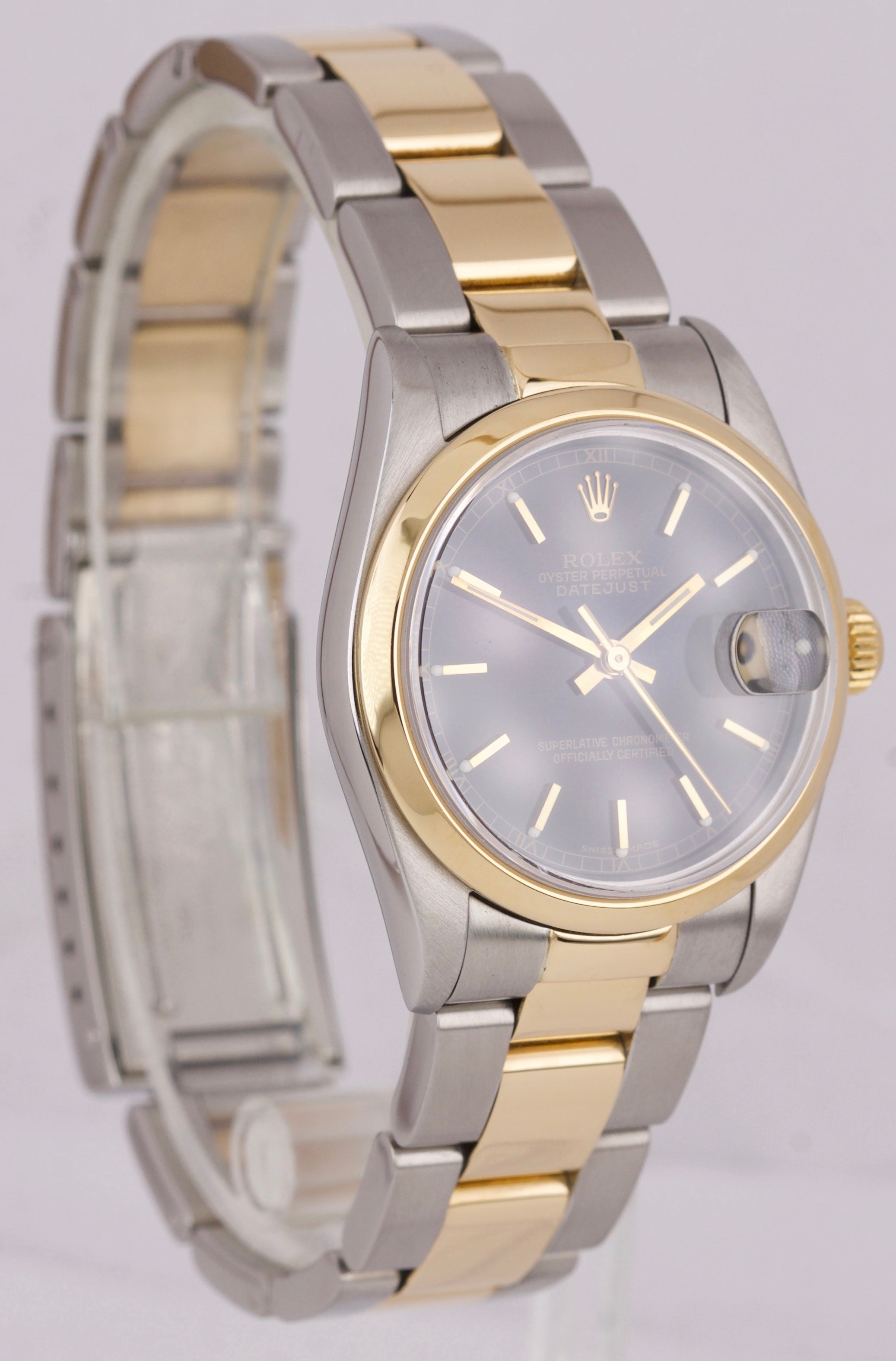 Ladies Rolex DateJust Midsize Black Two-Tone 31mm Smooth Steel Gold 78243 Watch