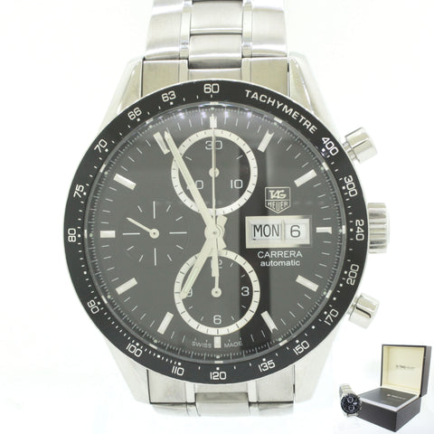 Tag Heuer Carrera Tachymeter Steel Black Chronograph Dial 40mm Watch B&P