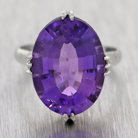 1930's Vintage Estate Platinum Amethyst Cocktail Ring