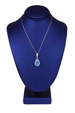 Modern 14K White Gold 13x8mm Blue Topaz Pear Shape Diamond Accent Necklace