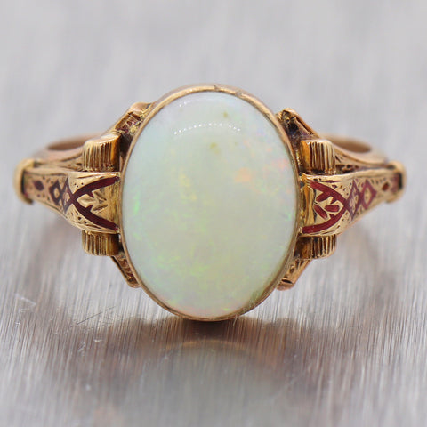 1880's Antique Victorian 14k Yellow Gold Opal Enamel Ring