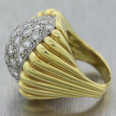 Vintage Estate 18k Yellow Gold 2.50ctw Diamond Cocktail Ring