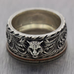 Men's Gucci Sterling Silver Tiger Head Patterned Band Ring