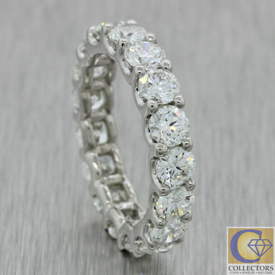 Vintage Estate Platinum 3.90ct Diamond Eternity Wedding U Prong Band Ring A1