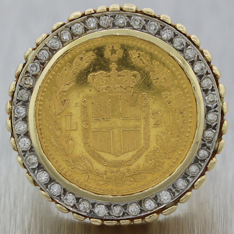 Vintage Estate 14k Yellow Gold 0.50ctw Diamond 1882 22k Italian Zolire Coin Ring