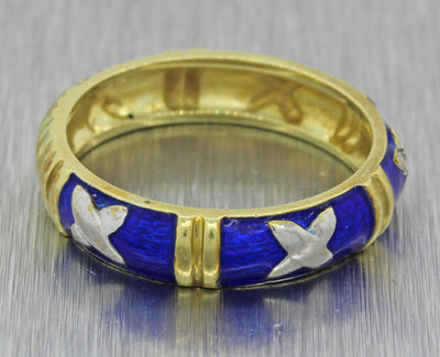 Vintage Estate 14k Yellow Gold .05ct Diamond Blue Enamel 4mm Wide Band Ring J8