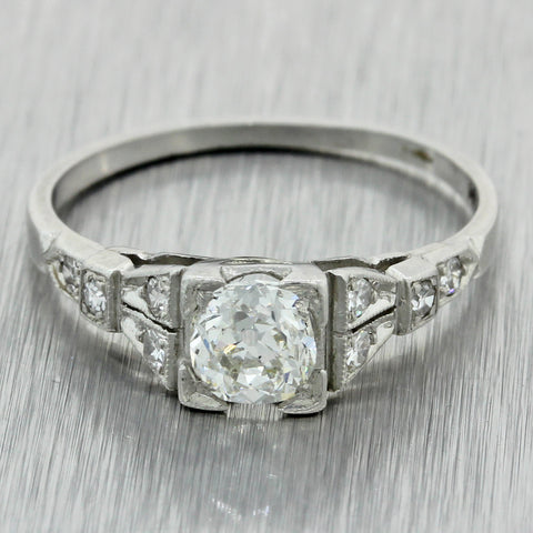 1930s Antique Art Deco Platinum .74ctw Diamond Engagement Ring EGL $3330