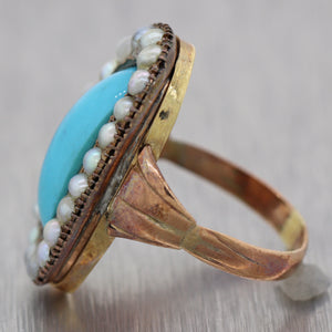 1860's Antique Victorian 14k Yellow Gold Turquoise & Seed Pearl Ring