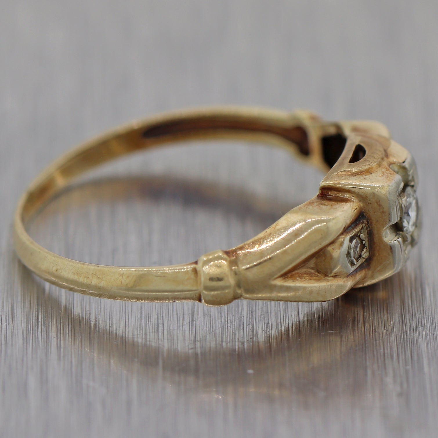 1930's Antique Art Deco 14k Yellow Gold 0.08ct Diamond Engagement Ring