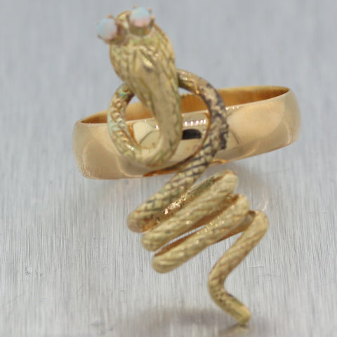 1890's Antique Victorian 18k Yellow Gold 0.10ctw Opal Snake Ring