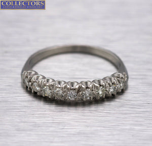 Stunning Ladies Estate 14K White Gold 0.36ctw Diamond Wedding Band Ring