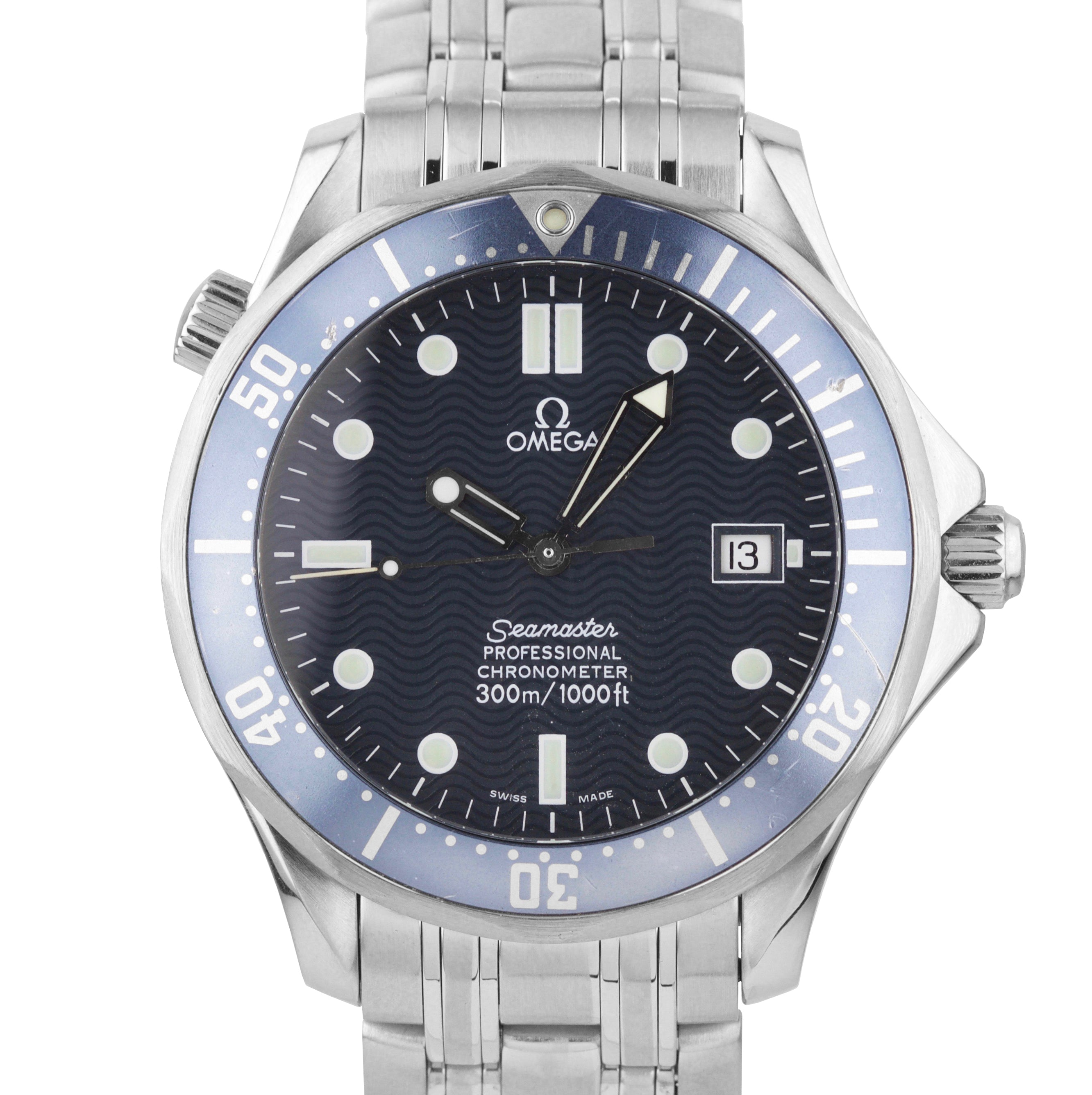 Omega Seamaster Professional 300 Blue Wave Automatic 41mm Watch 168.1623 2531.80
