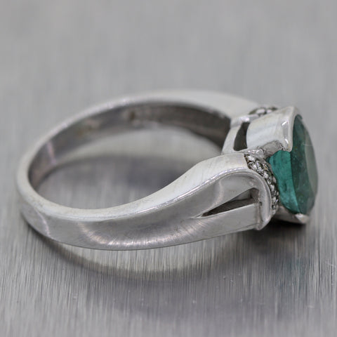 Vintage Estate 14k White Gold Natural Green Emerald & Diamond Ring