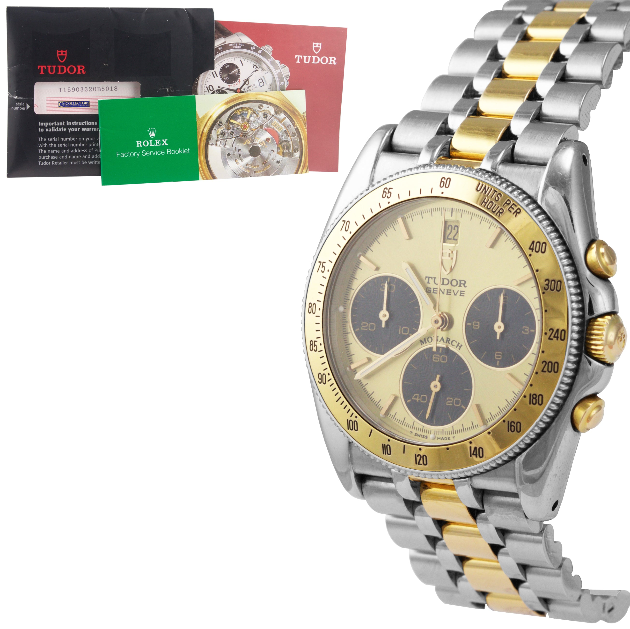 2000 Tudor Geneve Monarch Two-Tone Stainless Gold Chronograph 36mm Watch 15903