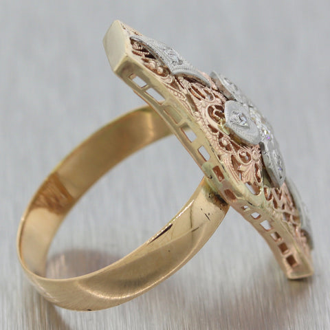 1880's Antique Victorian 14k Yellow Gold 0.25ctw Diamond Filigree Ring