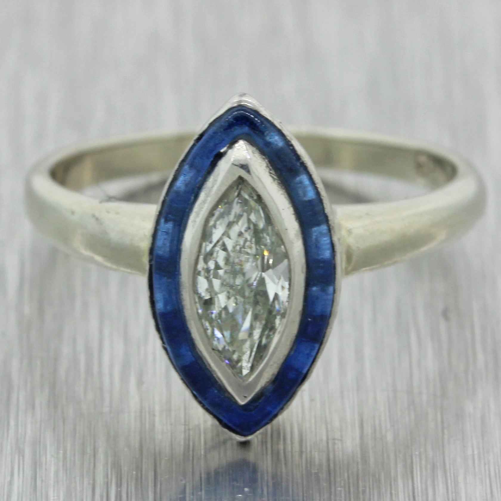 1930s Antique Art Deco 14k White Gold .51ct Diamond Engagement Ring EGL J8