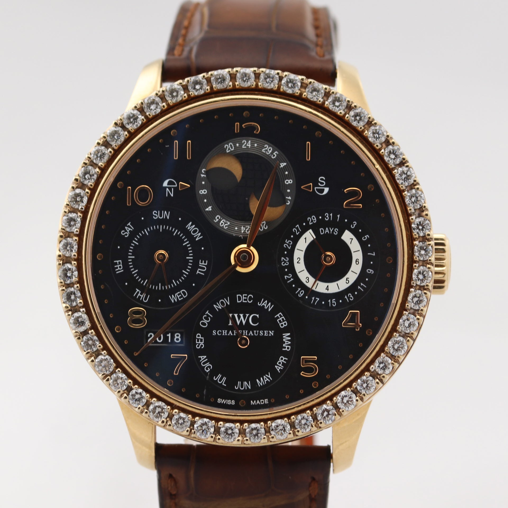IWC Portuguese Perpetual Calendar IW503202 5032 Rose Gold 44mm Diamond Watch D8