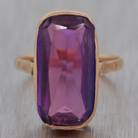1880's Antique Victorian 14k Yellow Gold Amethyst Ring