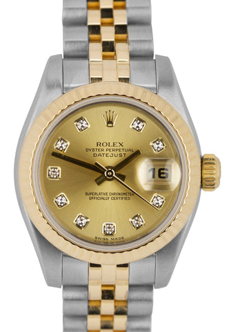 2006 Ladies Rolex DateJust 179173 Champagne Diamond Two-Tone 26mm Jubilee Watch