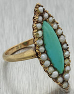 1880s Antique Victorian 14k Yellow Gold Turquoise Seed Pearls Navette Ring