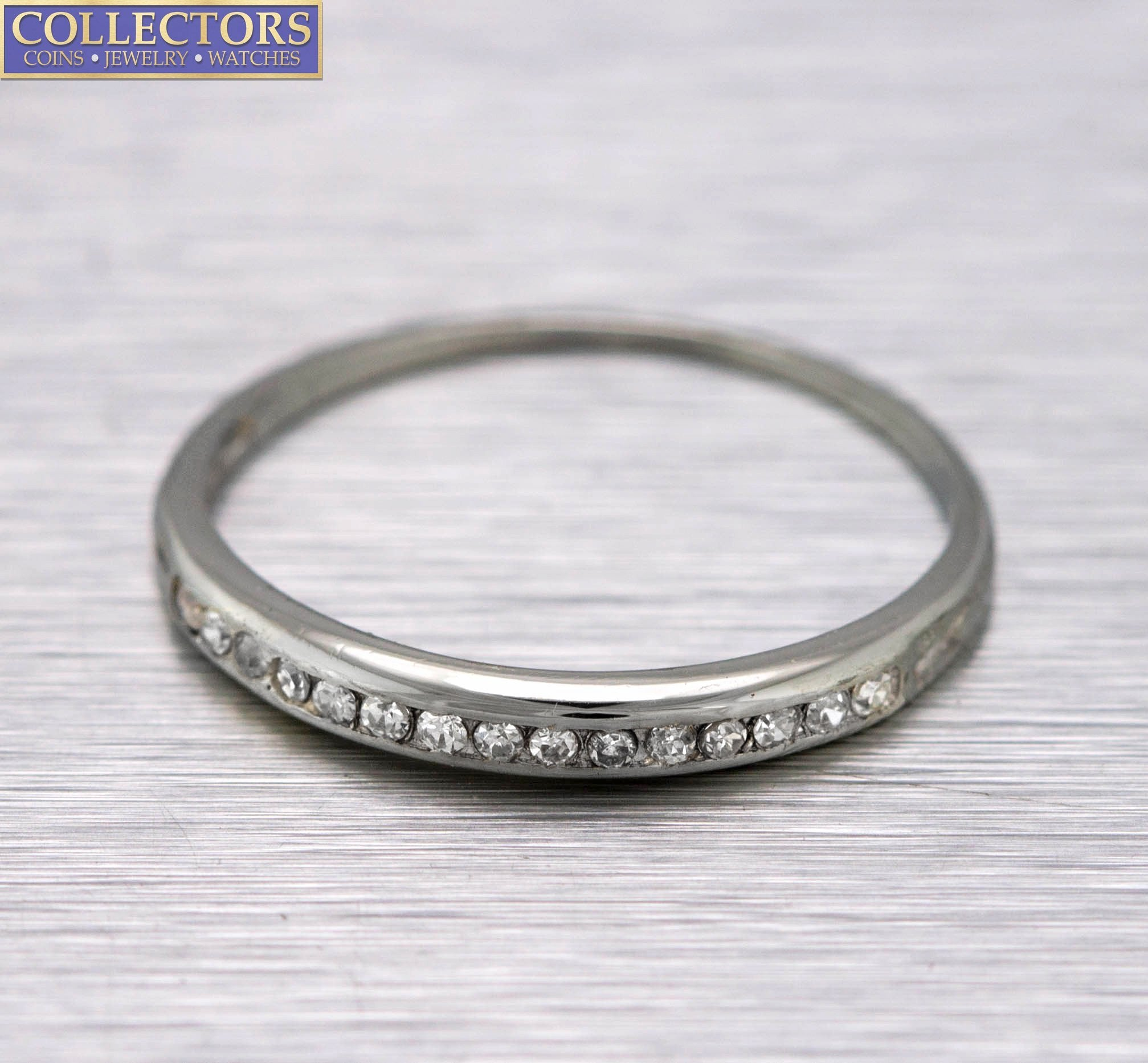Ladies 14K White Gold 0.15ctw Diamond Stackable Wedding Anniversary Band Ring