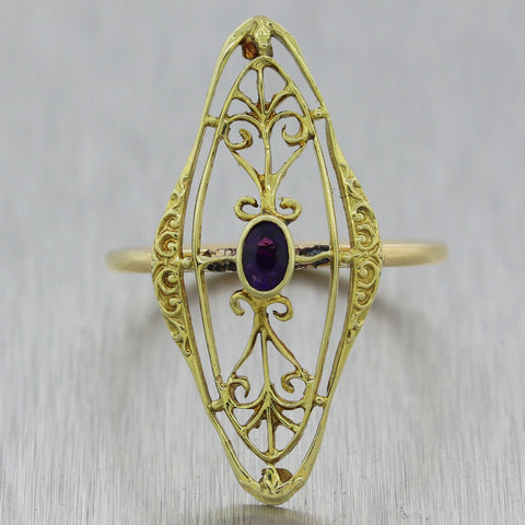 1880's Antique Victorian 14k Yellow Gold 0.20ctw Amethyst Filigree Ring