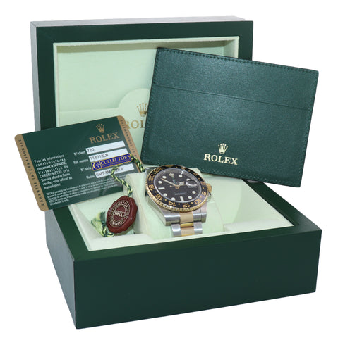 2011 PAPERS Rolex GMT-Master 2 Ceramic 116713 Green Two Tone Steel Gold Watch